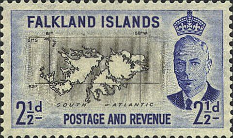 Falkland Islands. One of 14 remaining British Overseas Territories, these islands have been disputed between Argentina and Britain since 1765 and the two countries went to war over them comparatively recently in 1982. This stamp was issued in 1952, the final year of the reign of George VI.