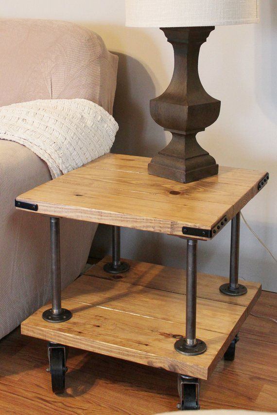 Farmhouse Industrial End Table Industrial Iron And Wood End Etsy Table Decor Living Room Diy Living Room Decor Wall Table Decor