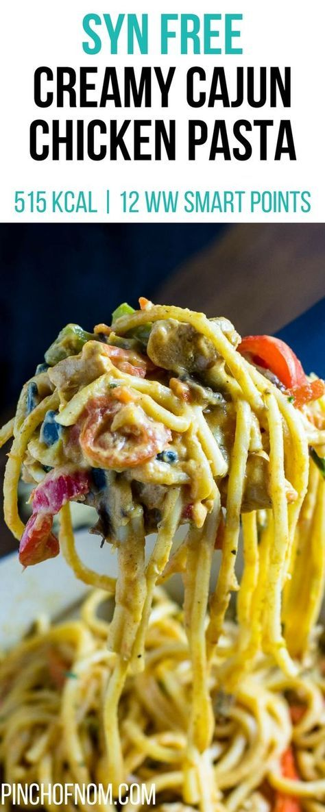 Syn Free Creamy Cajun Chicken Pasta   Pinch Of Nom Slimming World Recipes 515 kcal   Syn Free   12 Weight Watchers Smart Points