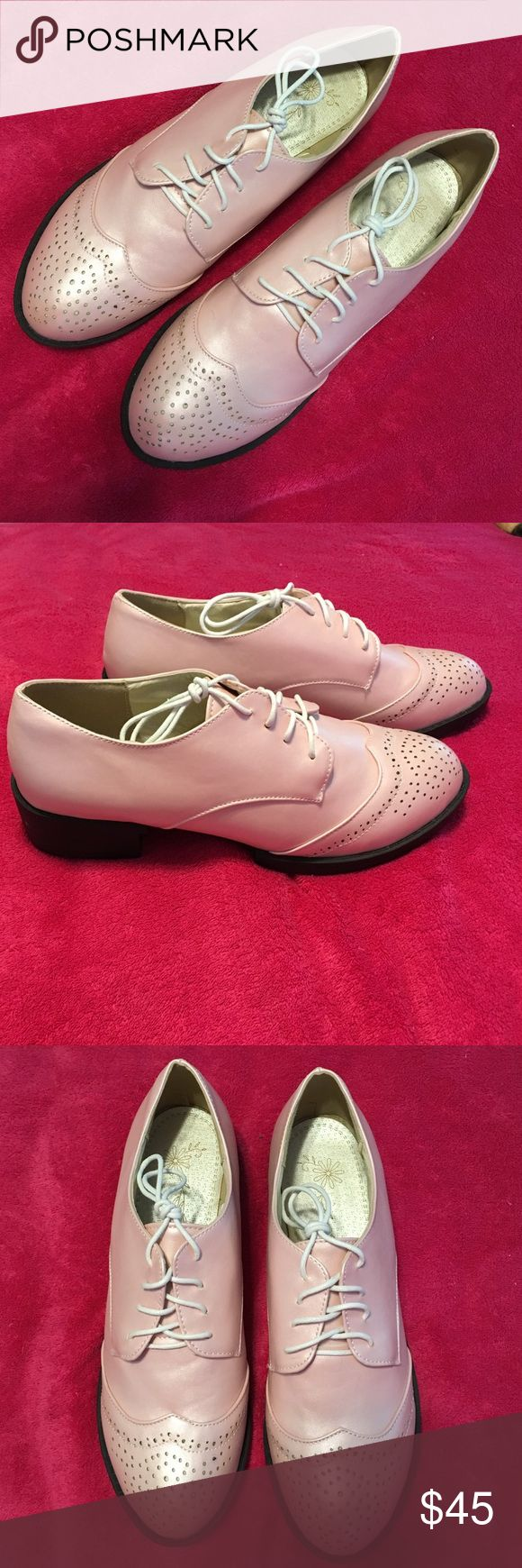 """Brogues Wing Tip Oxfords, Frosted Ice Pink, size 9 Women's Classic Chunky Heels Lace up Brogues Wing Tip Oxfords; Brand New, never worn; synthetic leather; heel height approximately: 1.18""""; color: frosted ice pink-shimmery light pink. Very Cute! They are a tad narrow; I purchased using European sizing and they were a whole size too big, but if you wear a US size 9, they should fit. Shoes Flats & Loafers"""