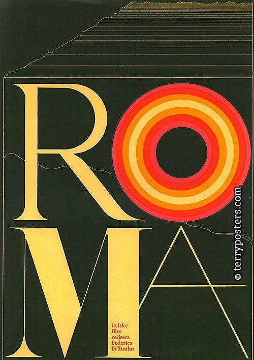 Czech poster for Roma (Federico Fellini) design by Zdenek Ziegler