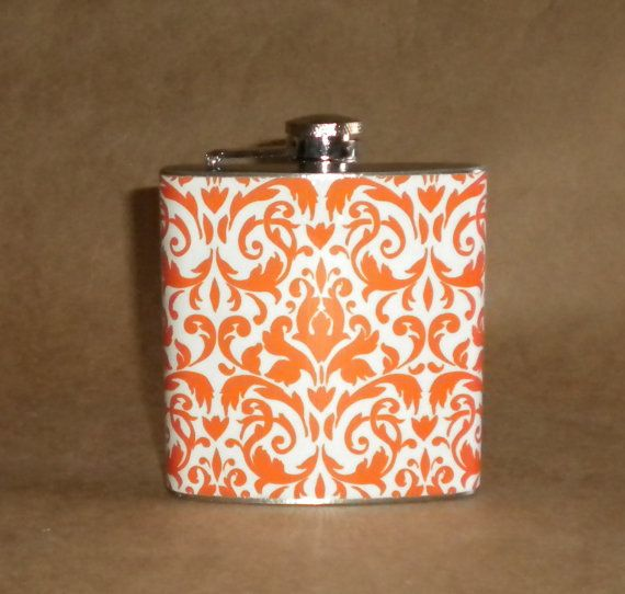 Orange and White Damask Print 6 ounce Stainless by kryan2designs, $18.50