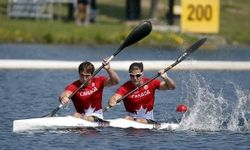 July 13 - Canoeing Flat - Men K2 1000m Final.  Brady Reardon and Andrew Jessop of Canada compete in the men's K2 1000m final during the 2015 Pan Am Games at Welland Pan Am Flatwater Centre.  Canada finished 5th.