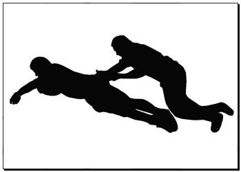 Poster of Sport Silhouette - Rugby Player Dives for Try Line with Tackler k7704521 - print photo art, canvas prints, wall decor, artwork prints, wall murals - k7704521.eps