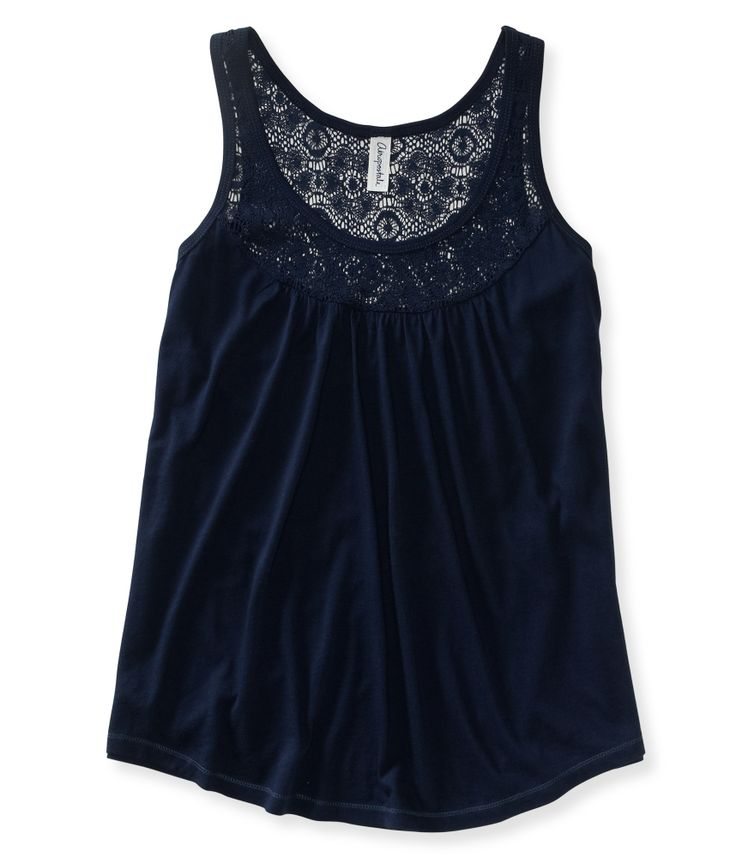 Lace Yoke Knit Tank from Aeropostale