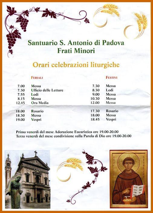 Orari celebrazioni liturgiche - Santuario S. Antonio di Padova - Frati Minori -…