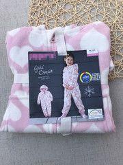 Немецкий экспорт не возвратил одного розовое сердце девушки с капюшоном флис кусок пижамы костюм 98-140