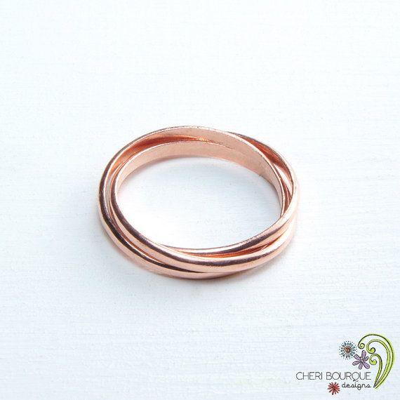 Interlocking rings russian wedding ring 3 band rolling for Interlocking wedding rings tattoo