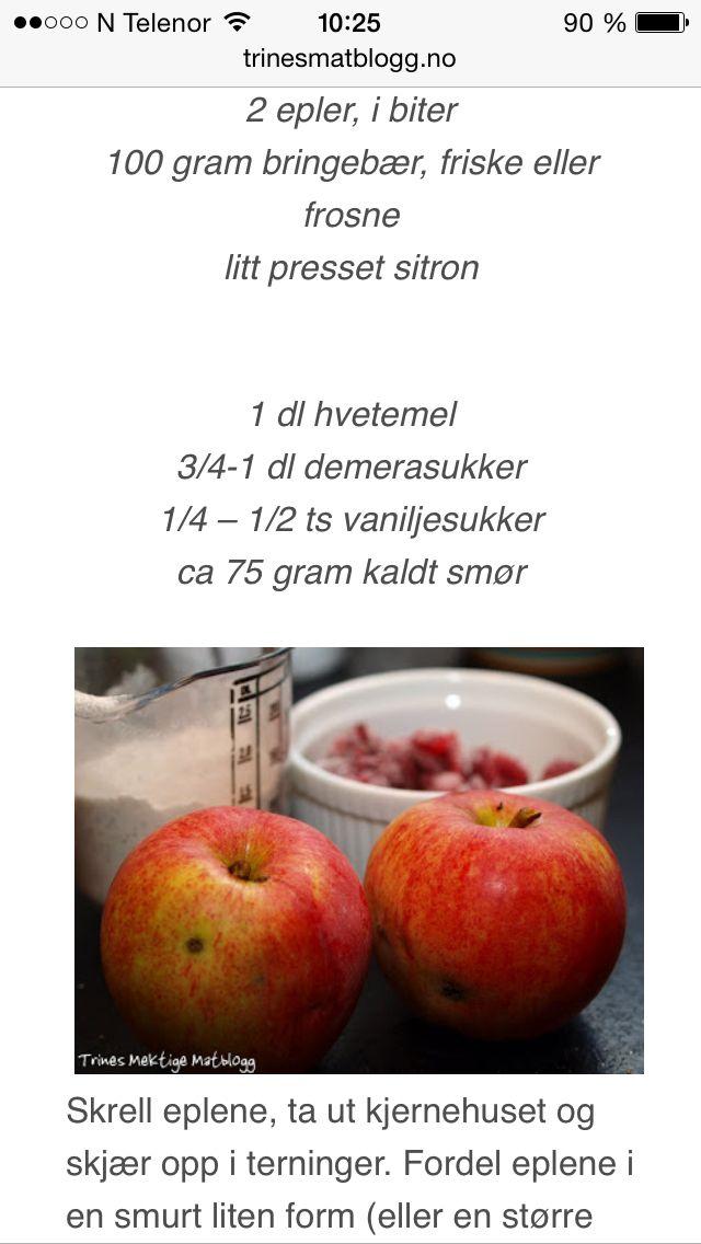 Enkel smuldrepai m.epler & bringebær, trines matblogg 3