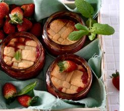 Strawberry tart in a jar.