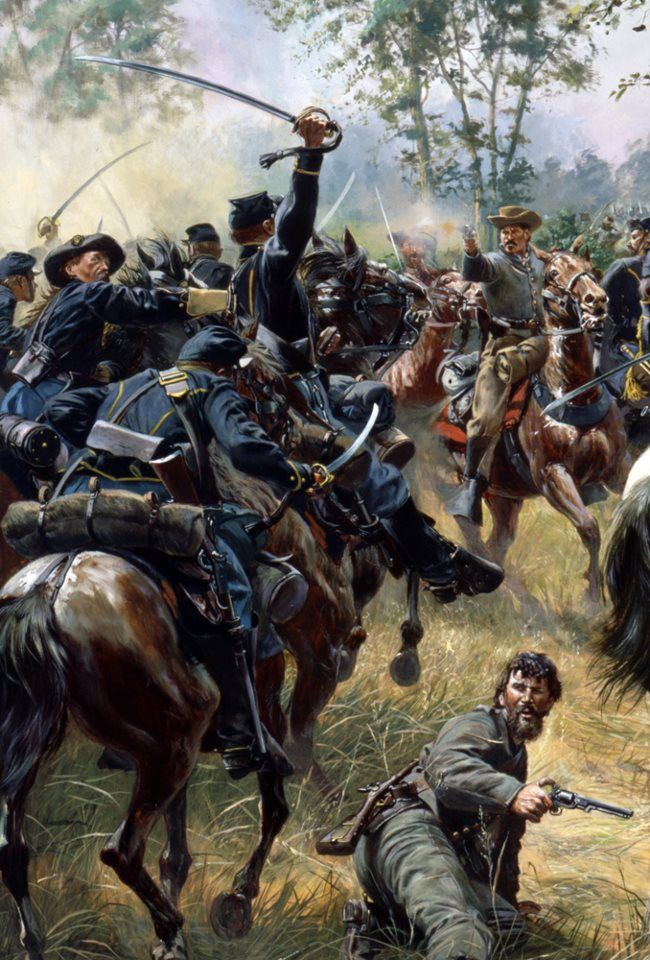 HAMPTON'S DUEL. Confederate General Wade Hampton fights off Union Cavalry at the Battle of Gettysburg, July 1863