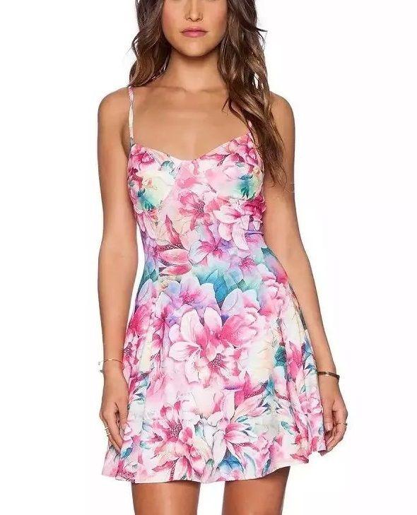 Купить товарXn35 европейский мода лето дамы элегантный плиссированные трикотаж цветочный принт спагетти ремень платья сексуальная рукавов свободного покроя платье в категории Платьяна AliExpress.                   Размер справки:                                             Размер s: бюст: 68 см длина: 6