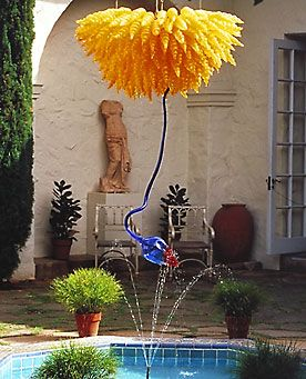 Dale Chihuly, LEMON YELLOW CHANDELIER WITH COBALT BLUE STEM, 1992.  Honolulu Academy of the Arts, Honolulu, Hawaii