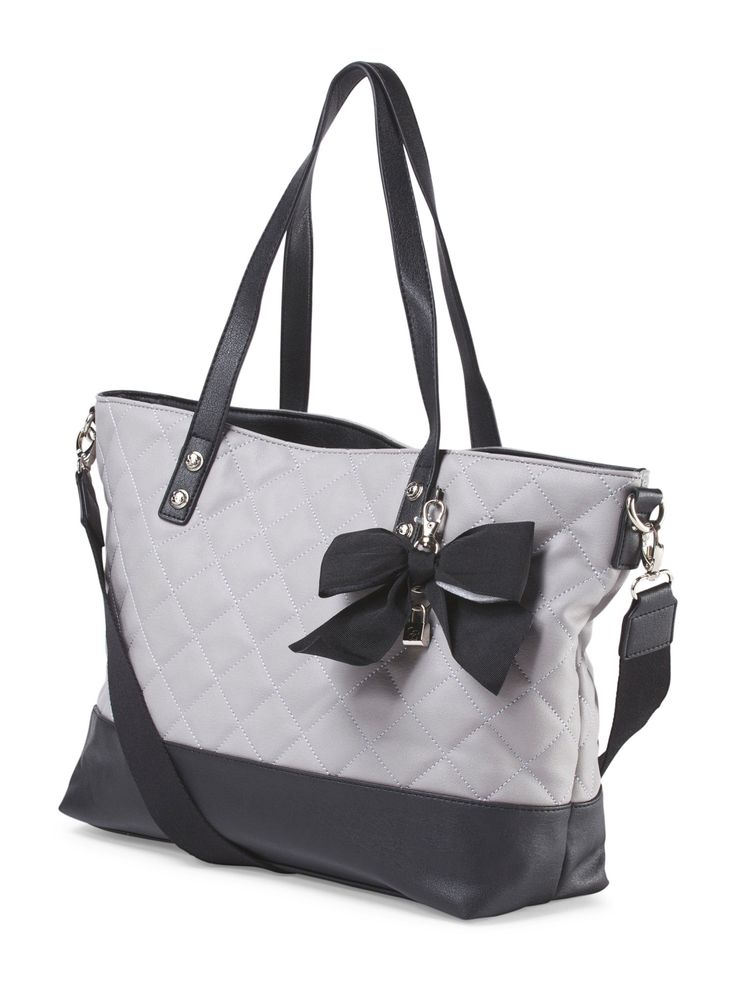 Helen Quilted Tote With Bow