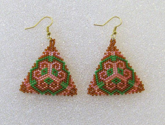 Beaded Triangle Shaped Pierced Earrings In by TheBeadedDiamond, $10.00