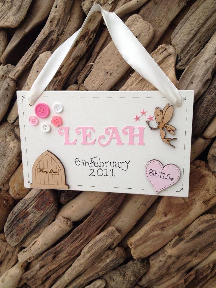 Newborn New Baby Girl Personalised Plaque Christening Keepsake Gift Name Weight