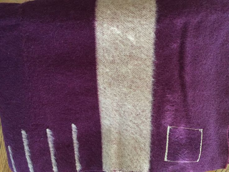 """Hudson's Bay wool blanket: 3.5 point, 61""""x79"""", Highland Heather purple with off white color, 1929 Imperial tones line."""