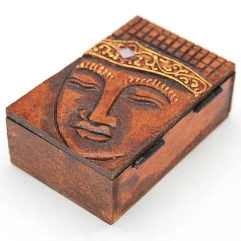 """BUDA WOOD BOX Hinged box carved from mahogany wood featuring painted accents. 4.8"""" x 1.6"""". Handmade by talented artisans in developing countries. Imported. Be sure to enter Kendra.IThoughtOfYou@gmail.com at checkout!"""