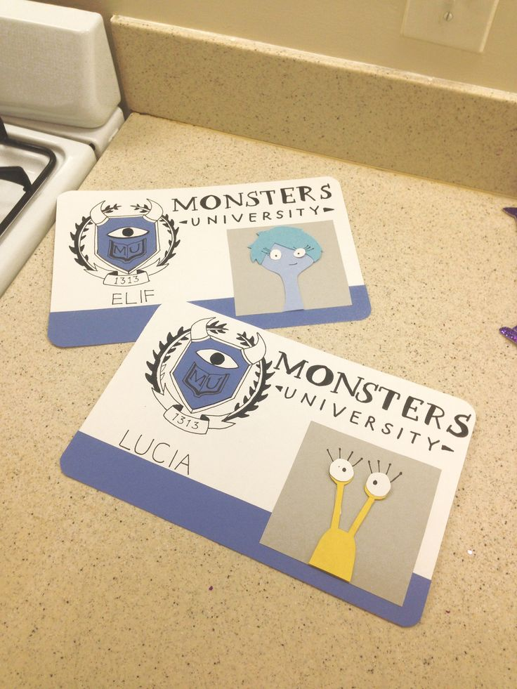 Since so many people liked my other pin about Monsters U door decs, here's a close up of the student ones! #RA #reslife #doordecs #decorations