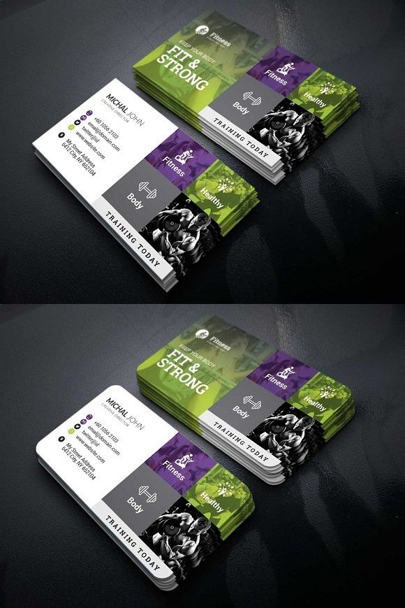 Gym Fitness Business Card Business Cards Pinterest Business