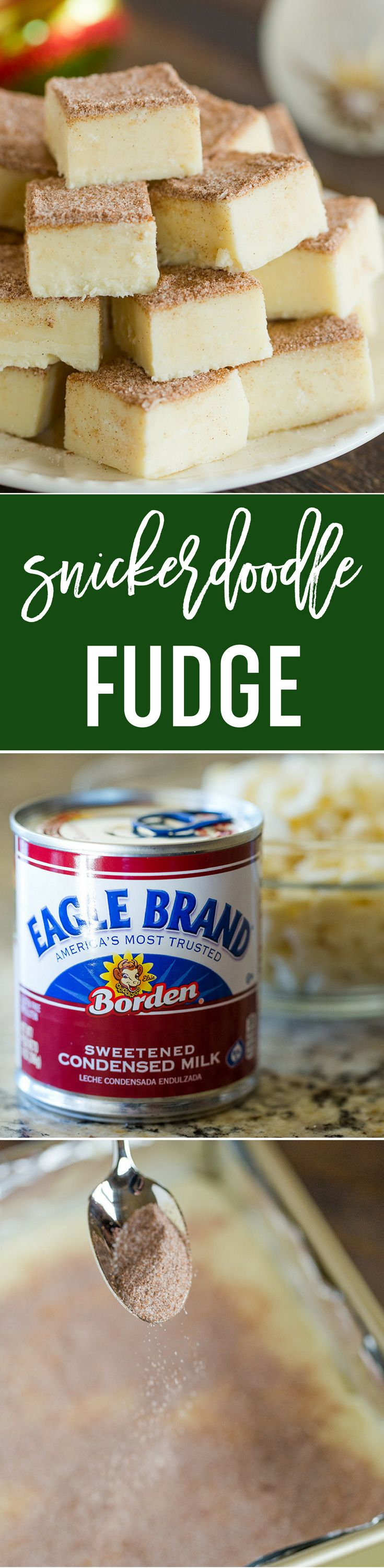 Snickerdoodle Fudge! Five ingredients, 10 minutes, and all of the wonderful flavors of snickerdoodle cookies. A perfect addition to holiday cookie trays. Created in partnership with @eaglebrand.    via @browneyedbaker