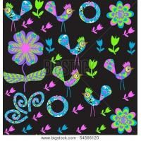 Vector Cute Seamless Pattern With Cartoon Bird And Flower And Seamless Pattern In Swatch Menu