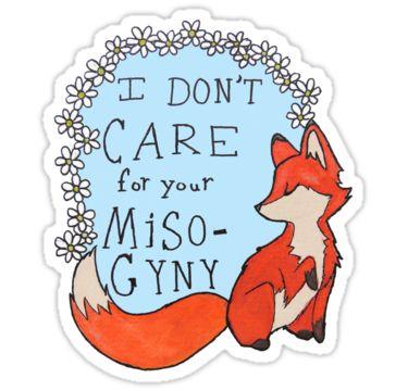 feminist fox - redbubble stickers