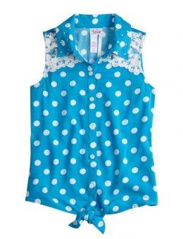 Dot & Lace Tie Front Shirt | Girls Tanks & Camis Clothes | Shop Justice