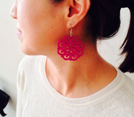 wooden earrings/Magenta pink earrings/Dangle by sudarium on Etsy