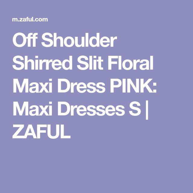 Off Shoulder Shirred Slit Floral Maxi Dress PINK: Maxi Dresses S | ZAFUL