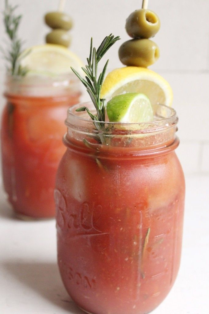 Spicy Old Bay Bloody Mary with Rosemary Infused Vodka / I'd make this virgin and cut out a few things for myself.. real for my friends. Yum