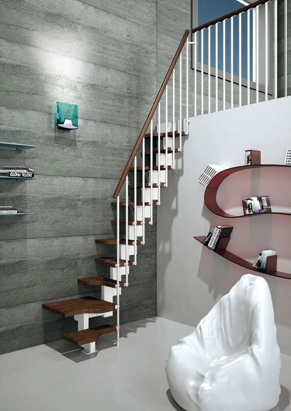 escalera en l peldao de madera modular para espacios pequeos mini plus rintal