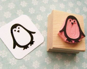 Christmas Stamp - Small Penguin Hand Carved Rubber Stamp