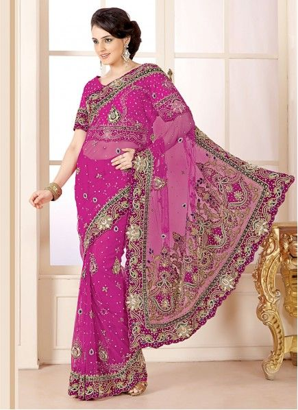 Rani Pink Resham And Zardosi Enhanced Net Saree