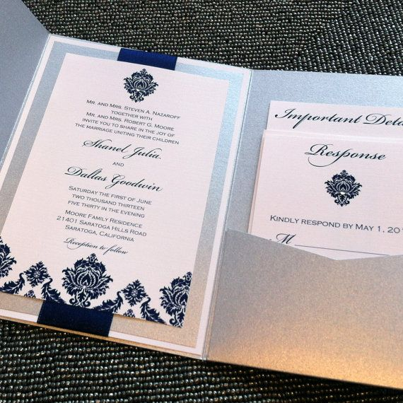 38 best formal wear images on pinterest formal wear invitation diamond damask pocketfold invitation in silver and navy sample stopboris Image collections
