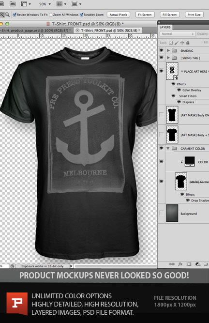 Pro photoshop t-shirt design template with smart object layer displacement filter for enhanced realism. Your artwork flows to the curves of the t-shirt fabric. https://www.prepresstoolkit.com/shop/ghosted-t-shirt-template-psd-v-neck/