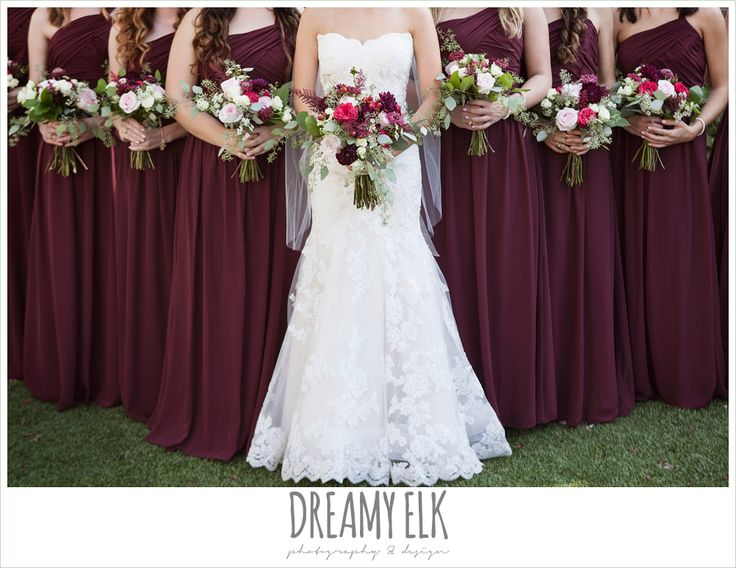 Flourish Floral Design, Burgundy And Light Pink Wedding Bouquets, Bride And  Bridesmaids, Mermaid
