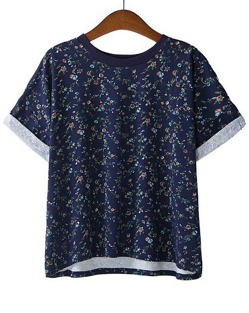 Navy Short Sleeve Floral Loose T-Shirt - Fashion Clothing, Latest Street Fashion At Abaday.com