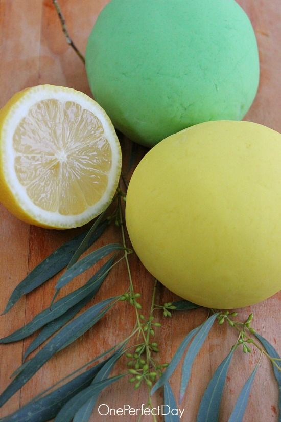Easy No-Cook Lemon and Eucalyptus Play Dough - just made this. very very easy. nice texture. looking forward to using it at work tomorrow!