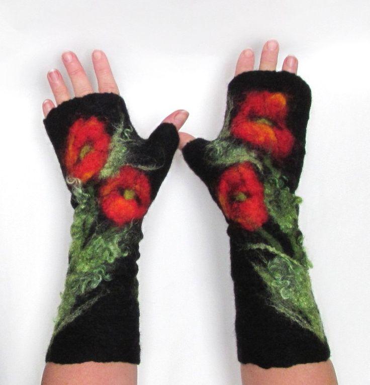 Felted Mittens fingerless gloves  -  Black red Poppy. $37.00, via Etsy.