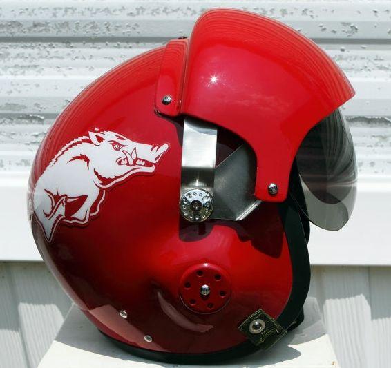 Arkansas Razorbacks themed motorcycle helmet