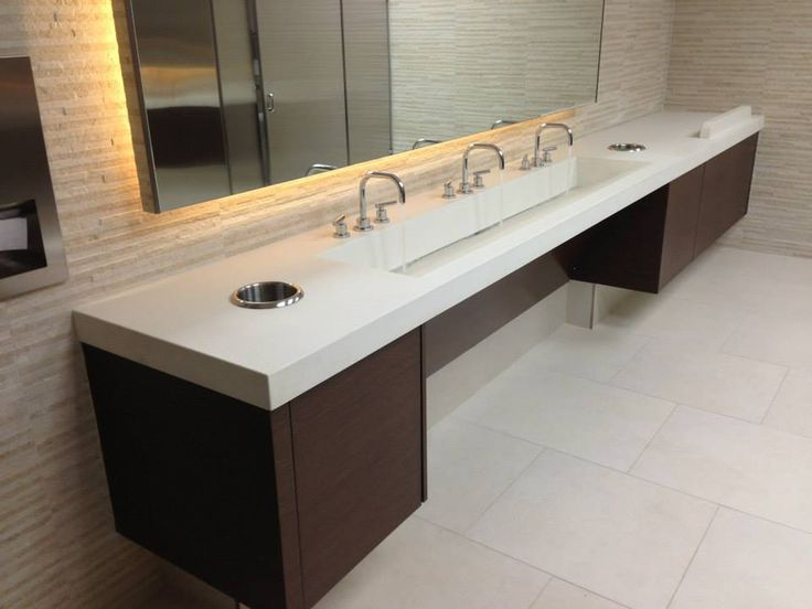 One of our favorite sinks. This is a Stockton Triple Ramp sink in a commercial restroom. It makes a statement like no other!
