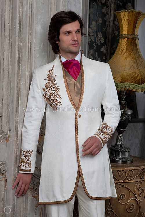 7a5fb6d8791 Wedding Suits   Sherwani - Off –white short fusion suit with antique gold  embroidery