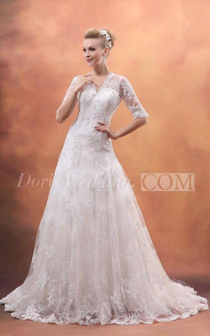 Beautiful V Neck Lace Wedding Dress UK with Sleeves  #DorisWedding #lace #wedding #dresses #beautiful #wedding #dresses #affordable #wedding #dresses #wedding #dress #styles #unique #wedding #dresses