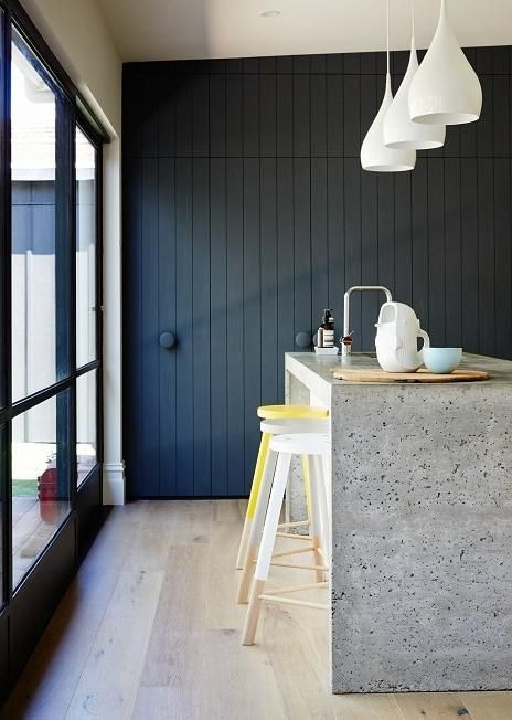 Black / dark blue kitchen, concrete worktops, wood flooring, island, bright stools | Jane Cameron Architects - desire to inspire - desiretoinspire.net