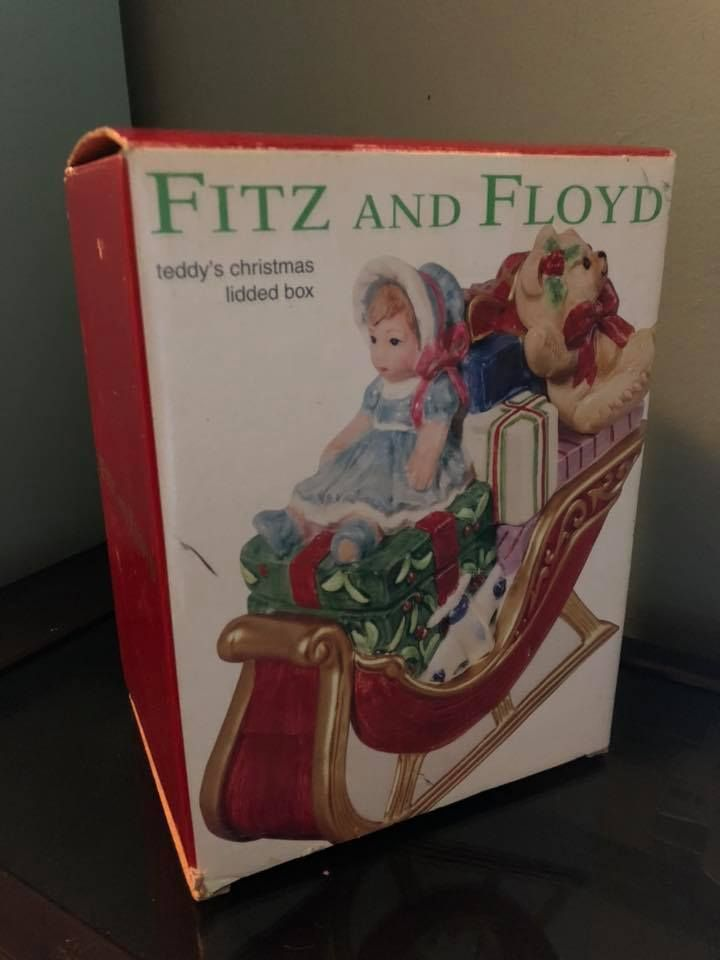 Details about Fitz and Floyd Teddy\u0027s Christmas Lidded Box xmas