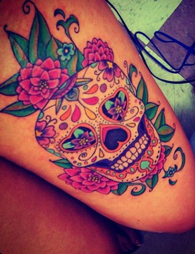 Thinking of something like this with stargazer Lilys & Gerbera Daisies instead of roses....to cover burn scars on my shin