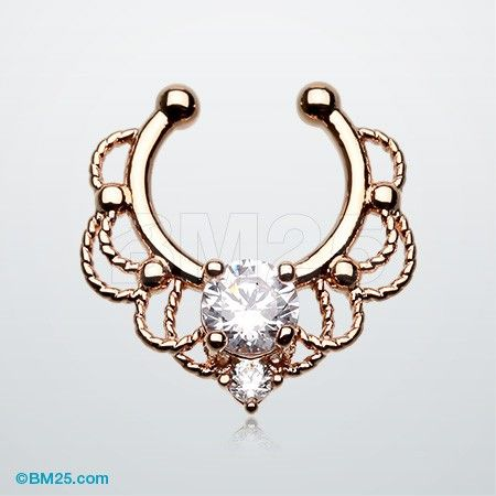 Rose Gold Turan Sparkle Fake Septum Clip-On Ring