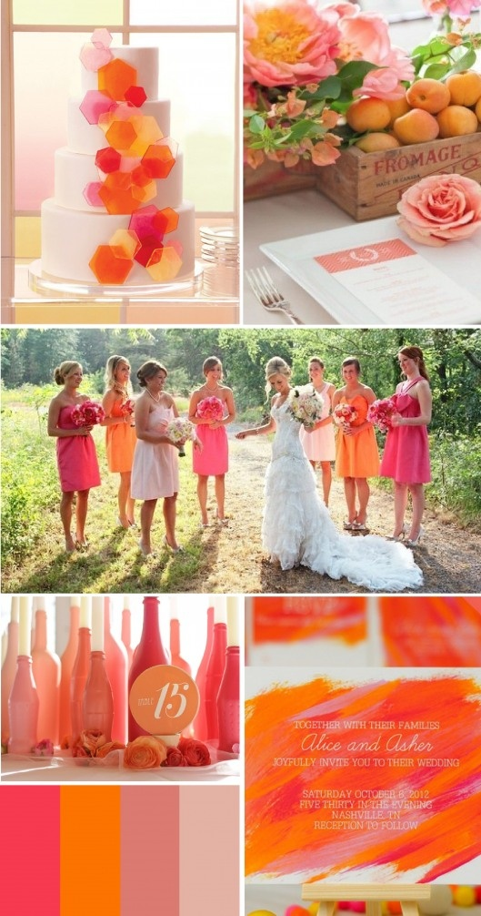 pink and orange wedding inspiration... so i LOVE the bridesmaids combination... just need to make it a darker orange for him... that wedding dress is ugly tho