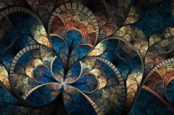 Fond d'écran un motif fractal, résumé, courbes, luminosité, Multi wallpapers